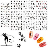 11pcs 11 Design Black Cute Cat Design Water Transfer Nail Art Stickers Decoration Manicure Foil Wraps Decals #BLE2193-2203
