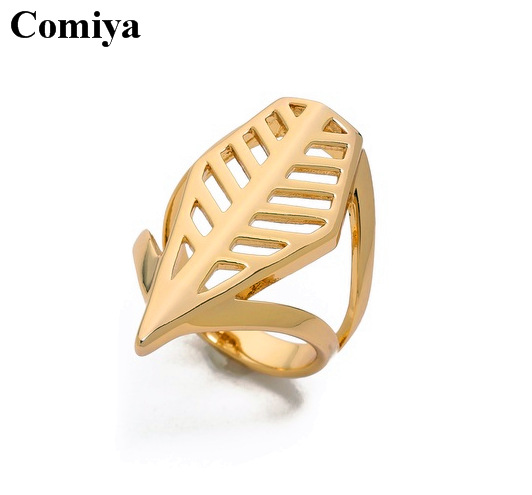 product 2015 Hollow out Leaf eus pedido gold ring New Fashion bijoux women love sale rings bague femme wedding ring jewelry jewellery