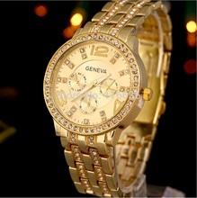 NEW Golden Geneva Metal Watch Women Gold Rim Rhinestone watch women casual dress wristwatch Fashion Girl