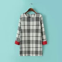 P45 2015 New Fashion Spring Summer Dress Women Dress Casual One-Piece Dress Red Sleeve Black And White Five-Wire Grid Dress