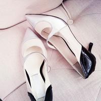 Free shipping luxury irregular elegant pointed toe low-heeled pointed toe sheepskin high-heeled shoes club pub shoes lx2708