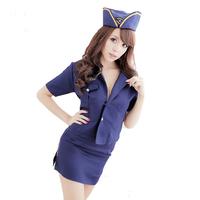 Free shipping blue stewardess uniform temptation sexy costumes erotic lingerie latex fantasia women sexy underwear dress