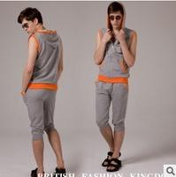 2015 New Fashion Mens Sport Suit Men's Tracksuit Sleeveless Active Mens Hoodies and Sweatshirts Zipper Sport Suit Men C2667