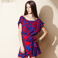 2015 New Fashion women Summer Sexy Blue Red Contrast Color Jumpsuits with Belt shorts hot rompers playsuits Free Shipping