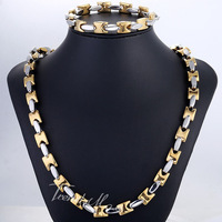 JEWELRY SET 9/10mm Mens Chain Boys Black Gold Silver Tone Square Bead Link Stainless Steel Necklace Bracelet Set Gift KS187