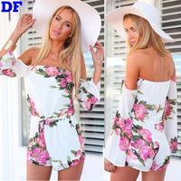 Macacao Feminino 2015 New  Women Chiffon Jumpsuit Off Shoulder Sexy Short Bodysuit Fashion Print Rompers Plus Size Jumpsuit