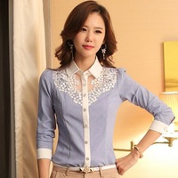 0303 New 2015 Spring Blusas Women Fashion OL Lace Blouse Long Sleeve Shirt Turn-down Collar Office Casual Shirts Plus Size Tops