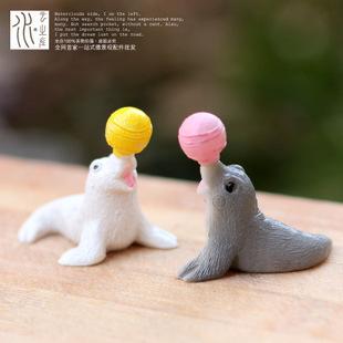 50 pcsMoss micro simulação em miniatura paisagem decoração sea lion animal balão boneca mãos brinquedos resina artigos de decoração(China (Mainland))