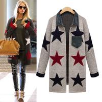 Fashion Stars Printed Cardigan Sweater Coat for Women Long Sleeve Turn-down Collar Denim Patckwork Midi Sweater Jacket Winter