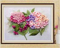 Free shipping XIUQIUHUA -12QW  DIY ribbon embroidery  painting set  50x40cm needlework room decoration handcraft