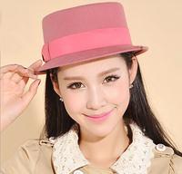 Wholesale 6pcs/Lot Women Retro Wool Flat Bucket Hats New Ladies Autumn Felt Fedora Cap Fashion Lady Winter Trilby Hat & Caps