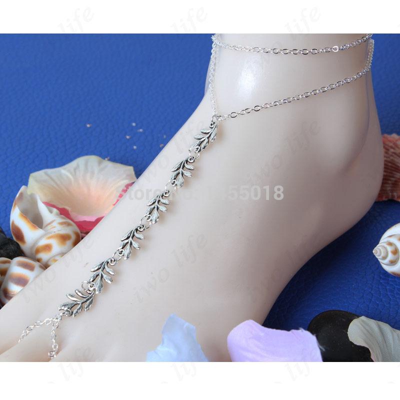 Fashion Foot Jewelry Barefoot Sandals,Multifunction Chain Tassle Leaf Anklet Bracelet Ankle Bracelets for Women(China (Mainland))