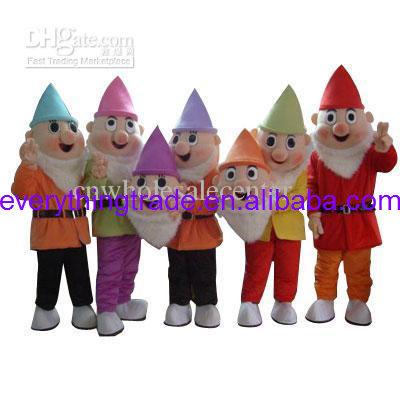 Hot sale 2014 Character Adult cute Plush Seven Dwarfs Mascot Costume fancy dress Halloween party costume(China (Mainland))