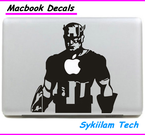 Cartoon Captain America Sticker for apple Macbook Skin Air 11 13 Pro 13 15 17 Retina Decal Computer Auto Wall Vinyl Logo Case(China (Mainland))