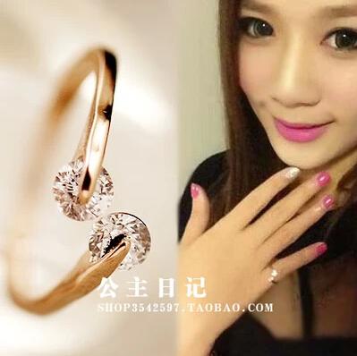 Hot New 2015 CZ Crystal Wedding Ring Women Female titanium Stainless Steel 18K Rose Gold Simulated Diamond Finger Rings(China (Mainland))