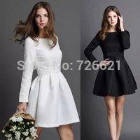 2015 New European Fashion Women Fall Spring Dress Elegant O-Neck Long-Sleeved Slim Waist Solid Black And White Dress S M L