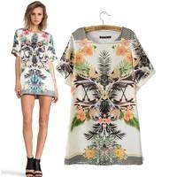 2015 spring new  round neck short sleeve print dress Slim ladies printed satin  bottoming 9907