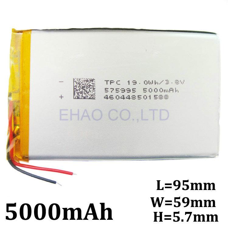 Аккумулятор Ehao 3.8V 5000mah 575995 li/po MP4 MP5 GPS DIY PSP e 3 7v lithium polymer battery 353560 830mah mp4 mp5 psp consoles gps navigator
