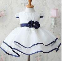 New summer Casual Pure white Bowknot Princess Dress Baby Girl Dress
