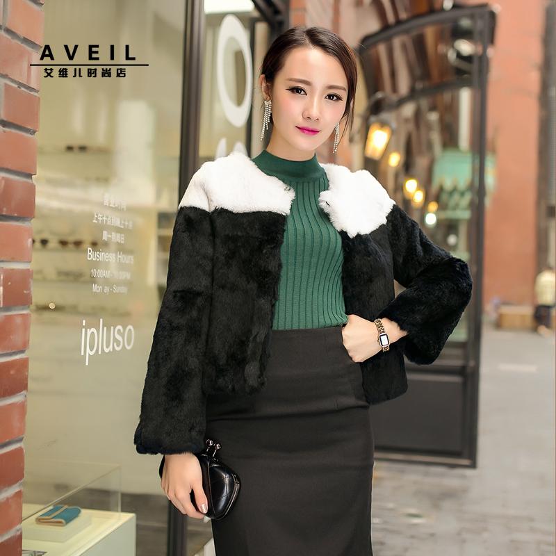 Black and white rabbit fur coat fur short design rex rabbit hair fur coat female full leather Y8P0(China (Mainland))