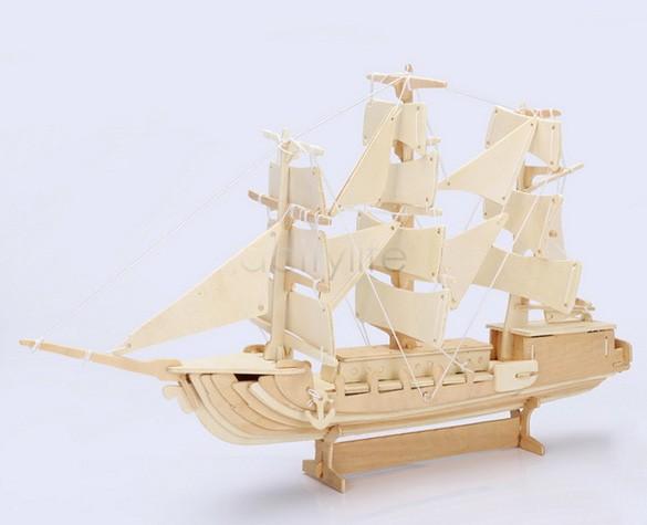 Free Shipping 3D European Ship Boat Woodcraft Construction Kit Wood Toys Model Kids Learning Educational SV19 SV014980(China (Mainland))