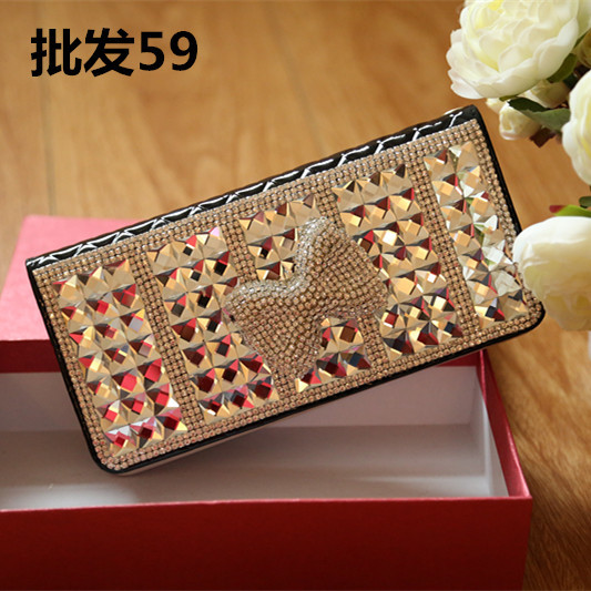Ms. long paragraph wallet leather leather fashion diamond zipper wallet zero PURSE WRISTLET style 2014(China (Mainland))