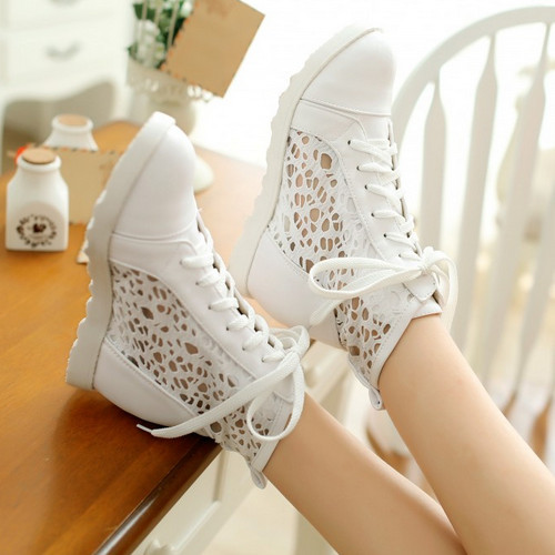 2015 New Spring Summer Women Fashion Sneakers Cut-outs Wedges Heels Lace up shoes sapatos femininos Platform Big size 32-42(China (Mainland))