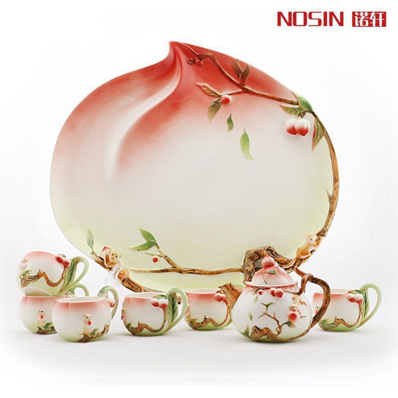 8pcs Creative Cup Peach wedding housewarming gift to send their elders parents enamel porcelain tea sets