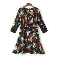 P55 2015 New fashion Spring Summer Dress Women Dress Elegant Casual One-Piece Dress Flounced Printed Long-Sleeve Dress