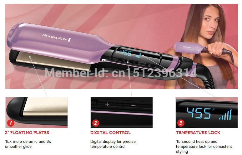 New! Remington S9620lx Ceramic Hair Straightener 2'' Hair Flat Iron Styler 455F Salon Result Perfect Straightening Iron(China (Mainland))