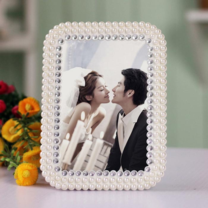 7 inches of Europe type resin photo frame hotel pearl wedding gift to studio set up crystal furnishing articles Free shipping(China (Mainland))