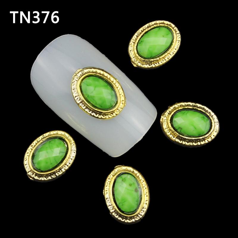 60pcs/lot Gold Green Gemstone Rhinestone Alloy 3D Nail Art Decorations For New 2015 DIY Glitters Nails Tools TN376(China (Mainland))