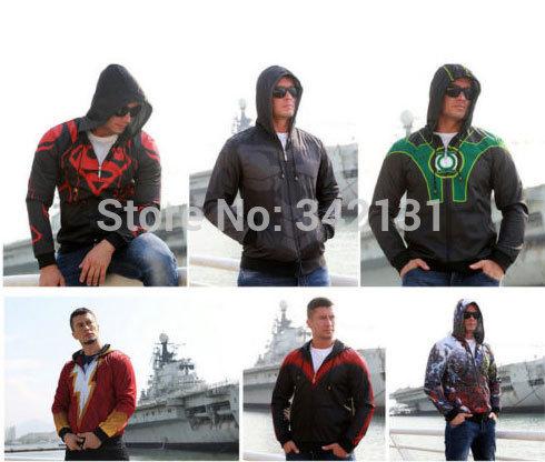 Superhero the Avengers Shazam Batman Hoodie Hooded Sweatshirt Coat Jacket S-2XL(China (Mainland))
