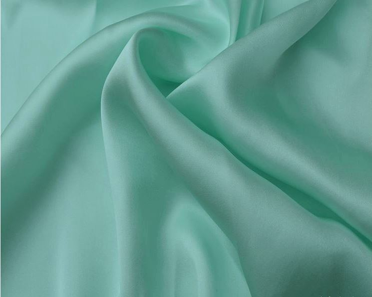 16.5 mm Plain knit satin Fabric 100% pure mulberry silk light blue pink wine red colors 114 cm 45'' width 80 gsm small wholesale(China (Mainland))