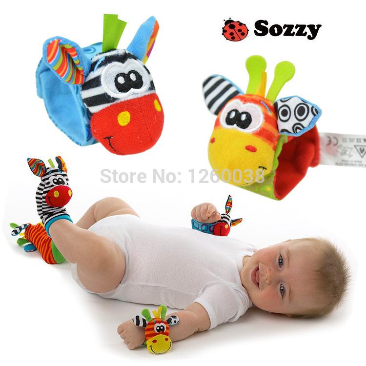 100 set/lote Sozzy novos brinquedos crianças brinquedos chocalho sino chocalho do bebê pulso chocalho e meia do pé(China (Mainland))