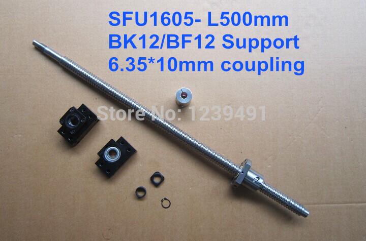 sfu1605 -L 500mm ballscrew with METAL DEFLECTOR Ballnut + BK12 BF12 support + coupling CNC rm1605-c7(China (Mainland))