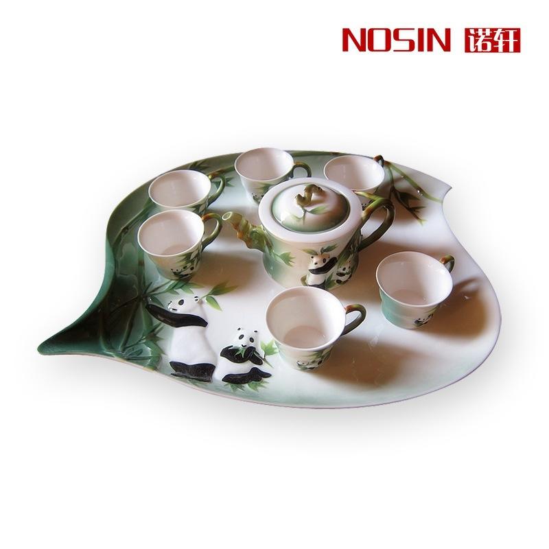 Wedding gifts 8pcs set Enamel Porcelain panda tea sets Gift Drinkware Kung Fu Tea mug Bone