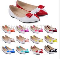 free shipping ,big size 35-42 women fashion flat  frosted patent leather bowknot single shoe 020