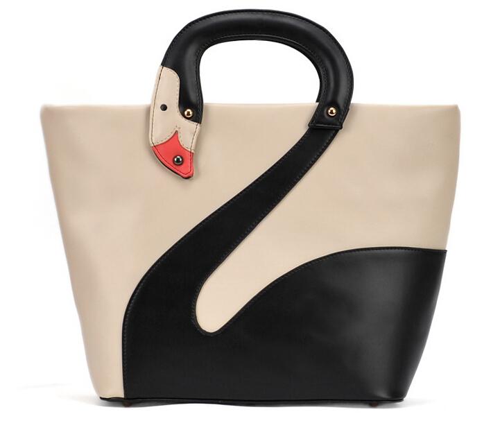 Newest women brand designer goose handbags shoulder bag woman swan tote satchel bag lady boston bag leather contrast color black(China (Mainland))