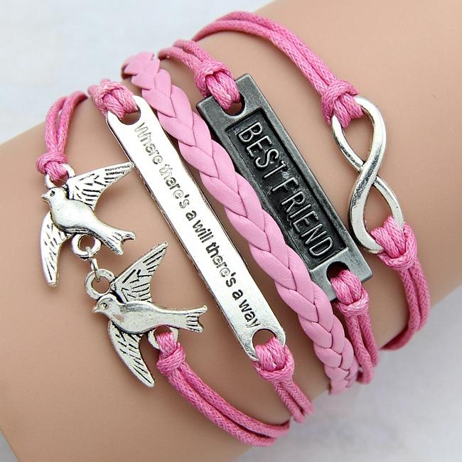 2015 new Fashion jewelry love birds romantic bracelet best friend gift Wax rope bracelet factory price