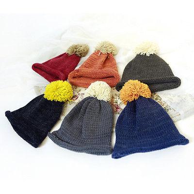 Knitted Wool Blend Ball Ski Hat Mens Ladies Kids Winter Warm Woolly Boy Girls New Fashion Casual Cap(China (Mainland))