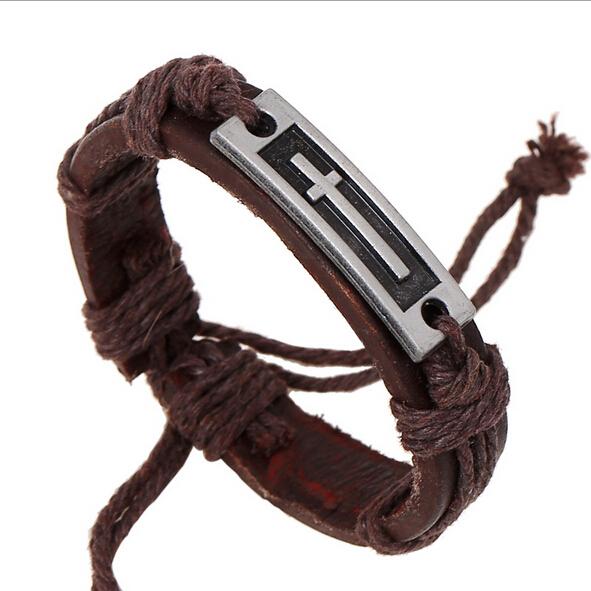 2015 Summer Unisex Fashion Genuine Leather Bracelet Jewelry Men Cross Charm Bracelets & Bangles Accessories Gift For Women(China (Mainland))