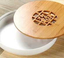 smooth bamboo ceramic Water storage tank tea tray creative Round tea tray chinese tea tray bamboo