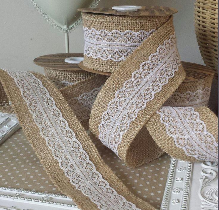 5M Natural Jute Burlap Hessian Ribbon with Lace Trims Tape Rustic Wedding Decor wedding cake topper(China (Mainland))