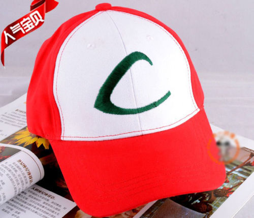 Pocket monster/Pokemon Ash Ketchum' hat red&white !Pikachu Pokemon hat!(China (Mainland))