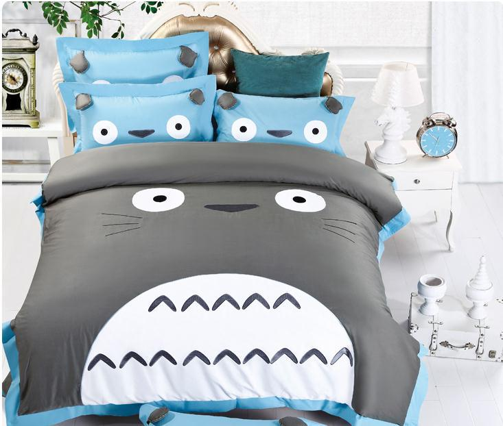 NEW!!100 cotton best quailty TOTORO bedding twin queen King bed sheets girls Mermaid print bedding Duvet Cover Sets kids(China (Mainland))