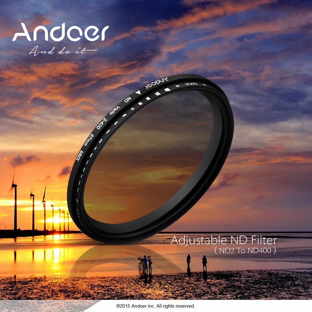 Andoer 52mm ND Filter Fader Neutral Density Adjustable ND2 to ND400 Variable Filter for Canon Nikon DSLR Camera(China (Mainland))