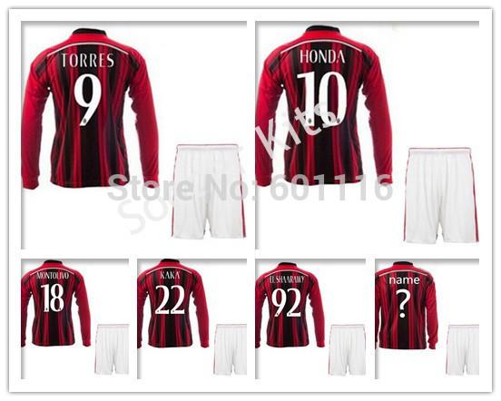AC Milan soccer jersey TORRES EL SHAARAWY KAKA Long Sleeve Soccer Kits Jerseys Uniforms Home Red Football Shirts(China (Mainland))