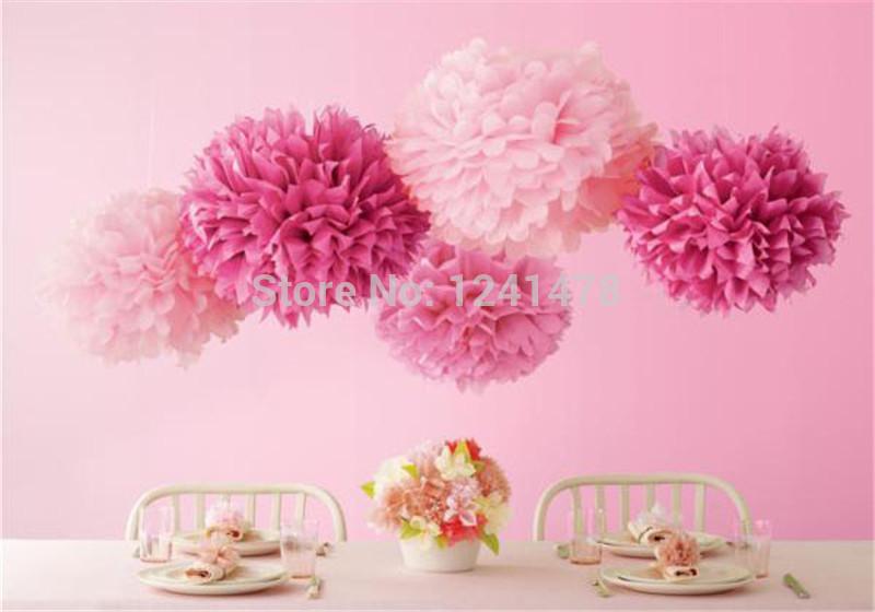 "24 Colors as chart !! Tissue Paper pink pompom wedding decor 6""(15cm) 28pcs/lot DIY tissue paper flowers balls garlands(China (Mainland))"