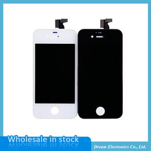 LCD with touch screen digitizer For iphone4/4s Mobile Phone LCDs white / black color Free shipping